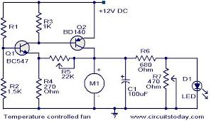 temperature controlled dc fan electronic circuits and diagrams temperature controlled fan circuit jpg