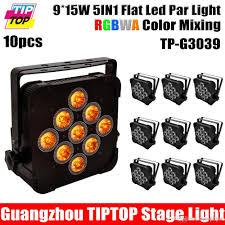 2018 10xlot flat slim 140w 5in1 led rgbwa 5in1 par can puck dmx 5 9ch control dj stage washer light 15wx9 uplighting hanging bracket from tiptoplight