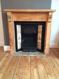 victorian cast iron fireplace tile inlays pine surround