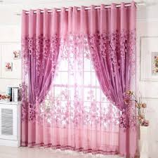Purple Curtains For Living Room Floral Pattern Tulle Living Room Drape Valances Door Window