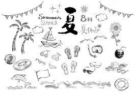 夏イラスト モノクロ 白黒 真夏 海 南国 ビーチ 白バック 白背景 手描き