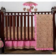Sweet Jojo Designs Cheetah Girl Collection Sweet Jojo Designs Pink Cheetah 4 Piece Bumperless Crib Bedding Set