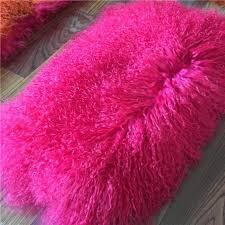 long hair lambskin rug natural curly white sheep fur mongolian sheepskin stool cover