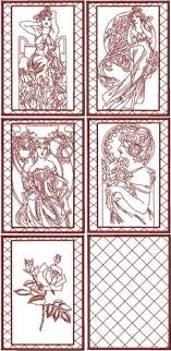 Advanced Embroidery Designs - Lady with Flowers Redwork Quilt ... & Lady with Flowers Redwork Quilt Blocks by Mucha Adamdwight.com