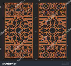 laser cutting set wall or window panels jigsaw die cut ornaments lacy cutout on die cut metal wall art with laser cutting set wall window panels stock vector 695686096