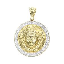 10k gold versace style diamond pendant medusa head medallion for men 0 5ct yellow image