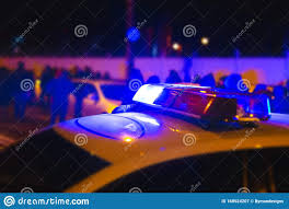 Download Police Lights Police Lights Blue Flasher On The Police Car At Night Stock