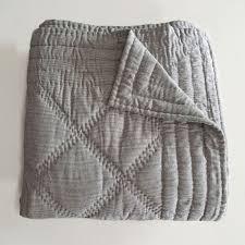 LINEN TICKING QUILT & Anichini Pho Collection Handmade Indigo Ticking Stripe Linen Quilts ... Adamdwight.com