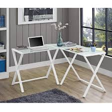 modern glass office desk. modern steel x-frame glass office desk in white