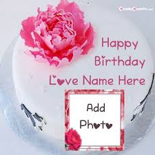 rose birthday cake with love name photo