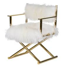Mongolian Fur Director S Chair Gold Bedroom Remodeling Room And