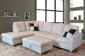 for u furnishing classic white faux leather sectional sofa left facing chaise 74 5 d x 103 5 w x 35 h com