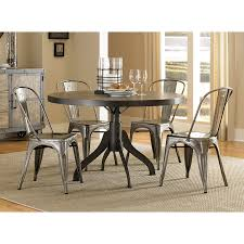 magnussen home walton wood round dining table set with round dining table with metal chairs