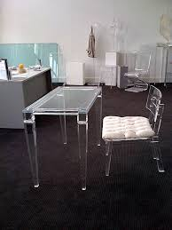 The Most Office Clear Acrylic Office Desk And Black Chair On Blue Fluffy  For Clear Acrylic Desk Decor ...