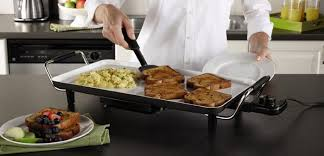 an electric griddle is a flat cooking device that can be placed on a countertop