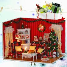 Xmas Living Room Dollhouse Miniature Diy Kit Cover Led Music Christmas Xmas Living