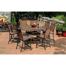 high outdoor dining chair. imagine yourself on an island in the mediterranean sea. this gathering height dining set will take you there. 6 sling chairs are made from all-w high outdoor chair pinterest