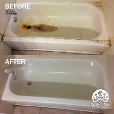 refinished bathtub with rust repair