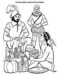 Native American Trading With European Merchant Coloring Page Kids