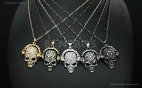 chic dj headphones skull pendant necklace mens jewelry biker hiphop swarovski crystal