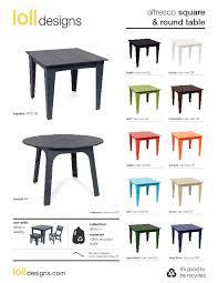 alfresco table round square cutsheet