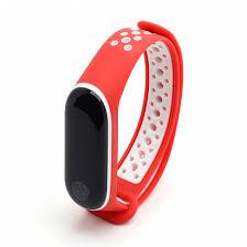 <b>Силиконовый ремешок для Xiaomi</b> Mi Band 3 Sport красно-белый