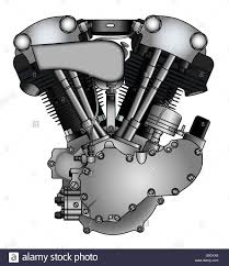 classic v twin motorcycle engine in vector stock photo royalty