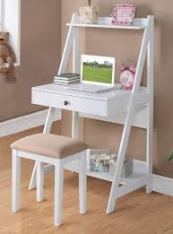 white desk with drawers and shelves. Contemporary With 2 Pc White Finish Wood Leaning Wall Desk With Shelves And Drawer Stool To Desk With Drawers And Shelves A