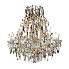 continental italian 24 light gilt and crystal chandelier with colored prisms