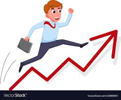 Chart Cartoon Businessman Cartoon Jump Over Growing Chart