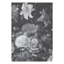 Golden Age Flowers Zwart Wit Vliesbehang 1948x280cm 4 Sheets