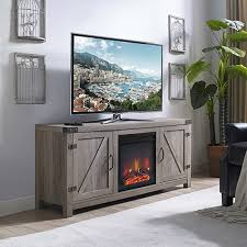 58 inch barn door fireplace tv stand grey wash