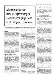 Medical Equipment Life Expectancy Chart Pdf Maintenance And The Life Expectancy Of Healthcare