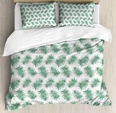green duvet cover set watercolor art style palm leaves tropical nature exotic rainforest foliage decorative bedding set with pillow shams forest green