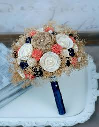 custom dyed c orange navy heirloom bride s bouquet c and navy collection cream ivory sola wood wildflowers burlap flowers