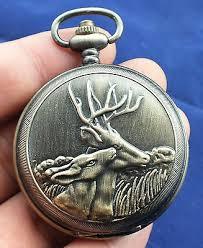 <b>Bronze</b> sculpture mechanical an old pocket watch <b>Sika deer</b>- <b>Double</b> ...