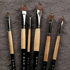 6pcs set trition smooth and soft squirre hair paint brush for acrylic aquarelle oil painting art supplies brushes for artist in paint brushes from office