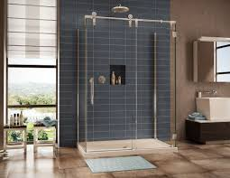 bathroom beauty shower tiles ideas with blue ceramic wall and modern rectangle glass shower screen