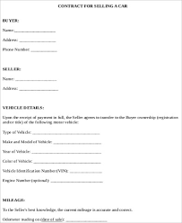Sale Of Car Contract Car Sale Contract Sample 10 Examples In Word Pdf