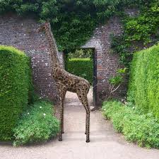large metal giraffe garden sculpture