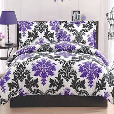 View in gallery Purple and black leaf print bedding