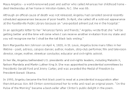 remembering the amazing life of a angelou obituary for a angelou arkansas democrat gazette newspaper article 29 2014