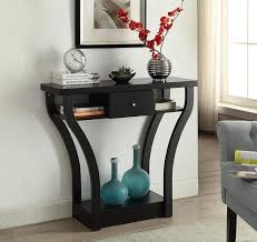 black finish curved console sofa entry hall table with shelf drawer
