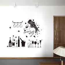 creative wine wall sticker girl handmade bar windows sticker for pub  on wine bar wall art with fantastic wine wall decor stickers elaboration wall painting ideas