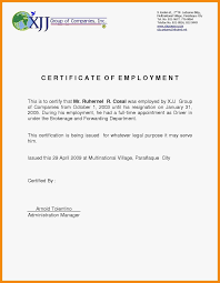 Free Sample Employment Certificate Letter Copy Employment