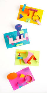 easy fun art project for kids colored paper collage sculptures