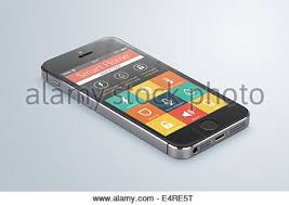 black modern smartphone with smarthome application on the screen lies e4re5t