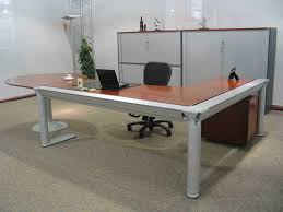 Home Office Furniture Decor With L Shaped White Stained Wooden