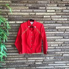 Vintage Tops | Lilia Smith Western Wear Vintage Red Cowgirl Shirt | Poshmark