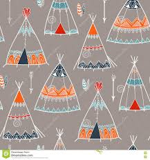 Teepee Pattern Custom Creative Boho Pattern With Teepee Or Wigwam Stock Illustration